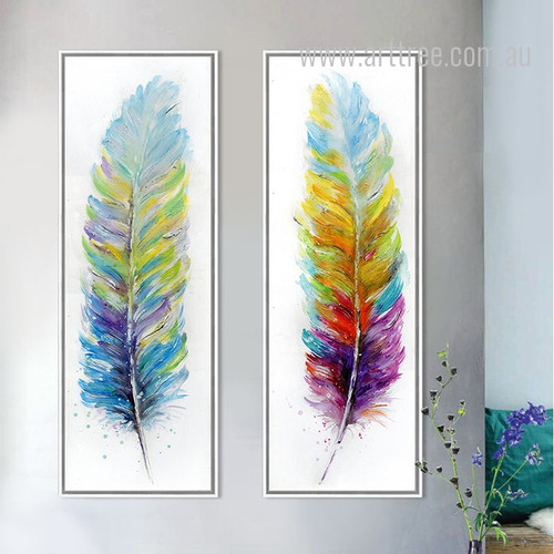Retro Style Watercolor Design Colorful Feathers Canvas Prints