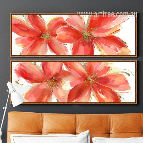 Botanical Red Floral Oversized Canvas Prints