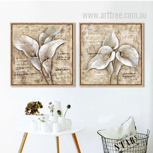 White Arum Lily Flowers Design Botanical Prints