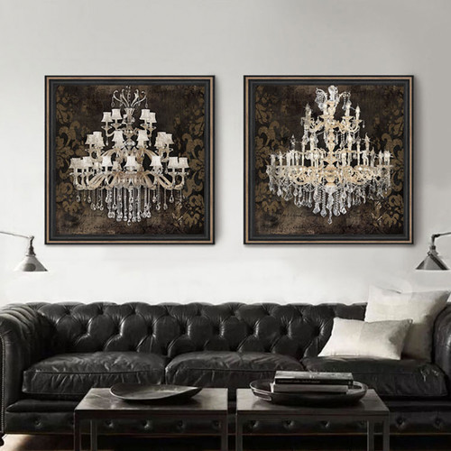 Retro Style Crystal Chandelier Pattern Canvas Prints