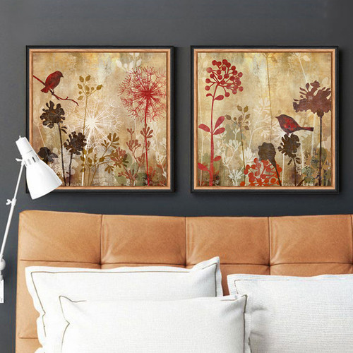 Retro Style Dandelion Floral Birds Canvas Wall Art