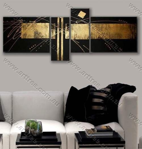 canvas painting home decor Golden stripe