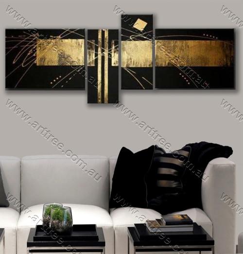 canvas painting home decor Golden stripe
