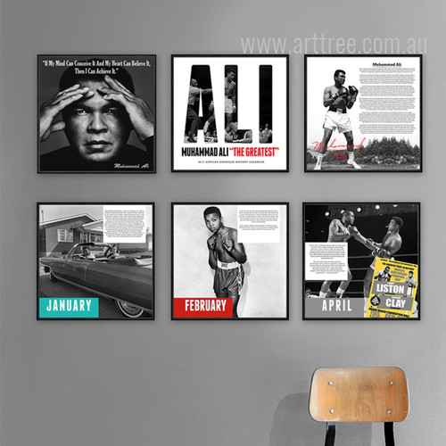 Muhammad Ali The Greatest Boxer Black & White Canvas Prints