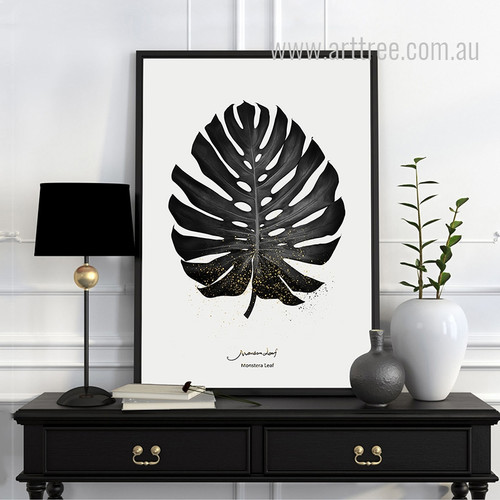 Black and White Monstera Leaf Art