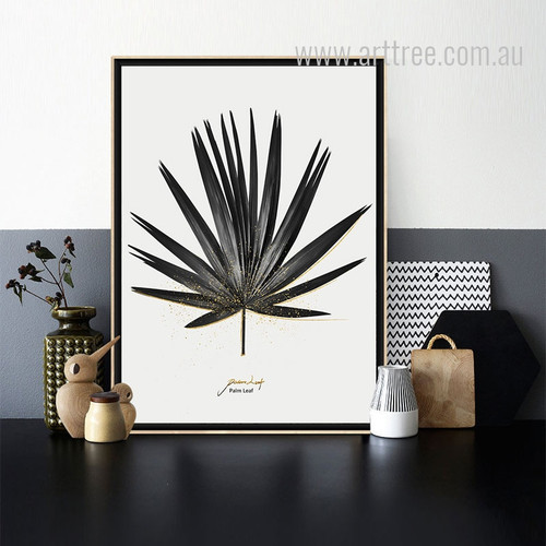Black and White Palm Leaf Art