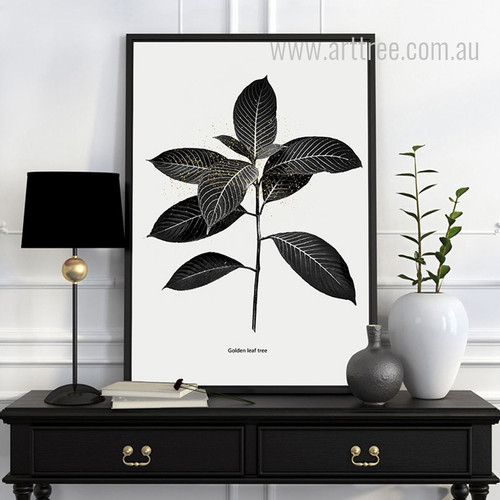 Black and White Golden Leaf Tree Art