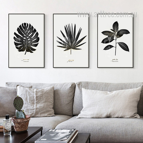 Botanical Monstera Palm Golden Tree Leaf Set