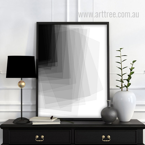 Black and White Geometric Rectangles Canvas Wall Art