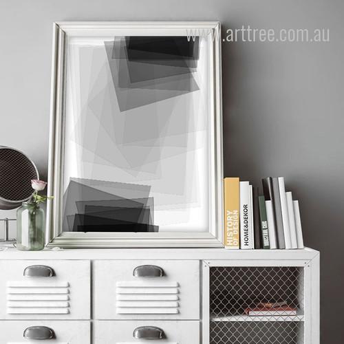 Black and White Geometric Rectangles Canvas Print