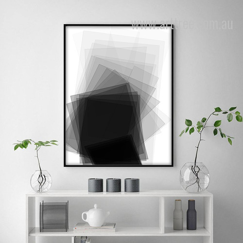 Black and White Geometric Rectangles Wall Art Print