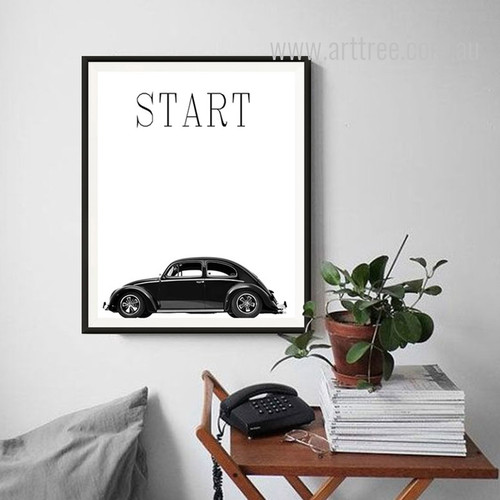 Retro Vintage Start Alphabets Car Print