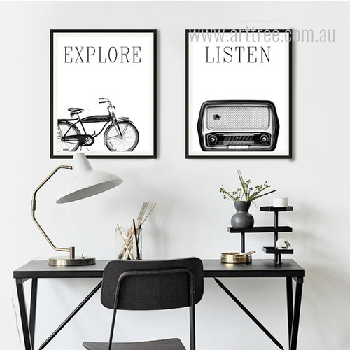Retro Vintage Cycle Radio Black and White Canvas Prints