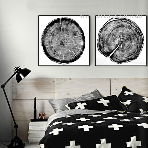 Long Tree Rings Black and White Canvas Prints