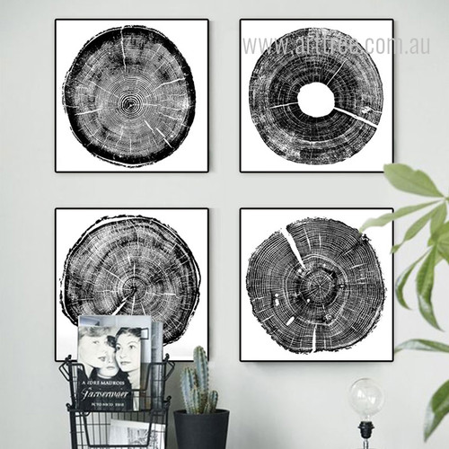 Long Tree Rings Black and White 4 Piece Wall Art