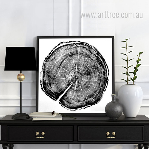 Long Tree Ring Black and White Canvas Print