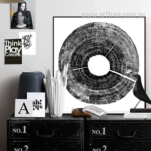 Long Tree Ring Black and White Canvas Wall Art