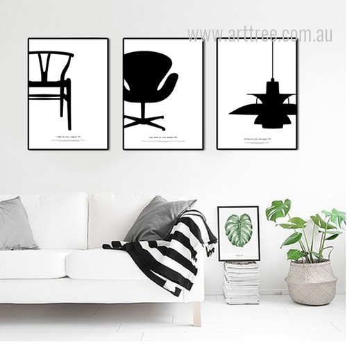 Y Chair, PH Lamp, Swan Chair Set Black and White Canvas Prints.