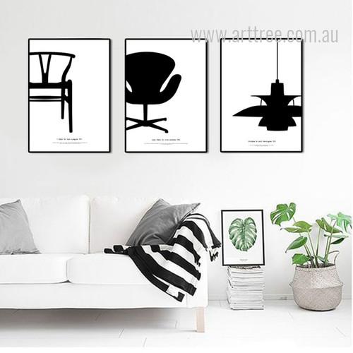 Y Chair, PH Lamp, Swan Chair Set Black and White Canvas Prints.