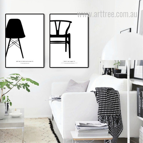 Eiffl Chair by Charles and Y Chair by Hans J Wegner Canvas Prints
