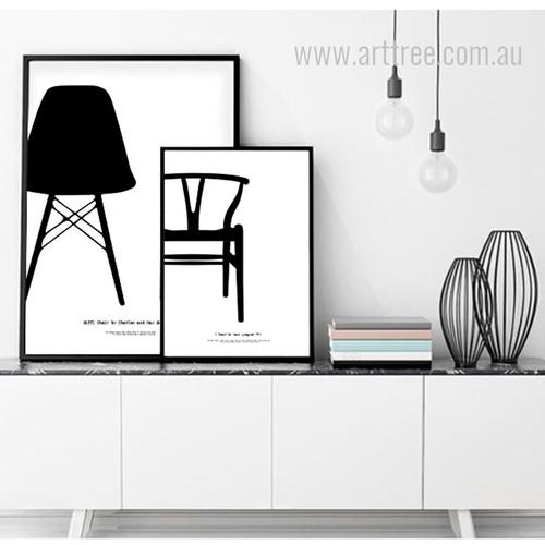 Eiffl Chair by Charles and Y Chair by Hans J Wegner Canvas Art