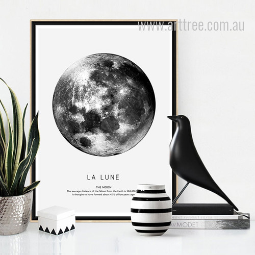 Black and White La Lune The Moon Design Canvas Print