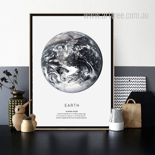 Black and White Earth Human Home Design Canvas Print