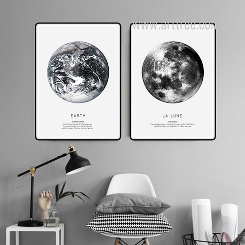 Earth Human Home, La Lune The Moon Black and White Canvas Prints