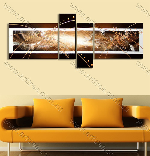 4 Panel Contemporary Streaks Artwork