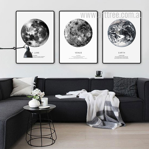 Earth Human Home, La Lune The Moon, The Venus Planets Art Print