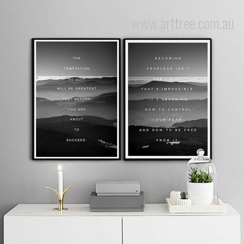 The Temptation Becoming Fearless Motivational Wall Art Quotes