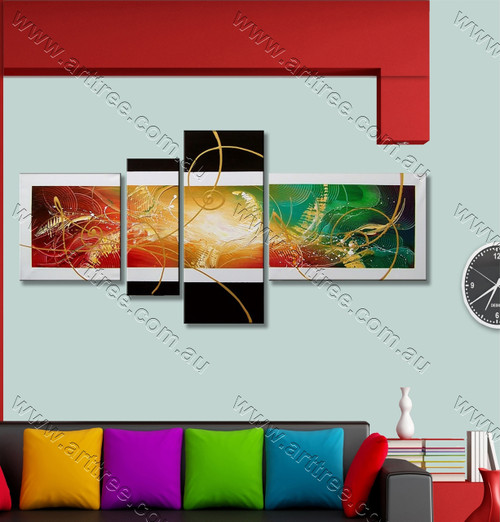 Abstract 4 Panel Group Art Colorful Textured