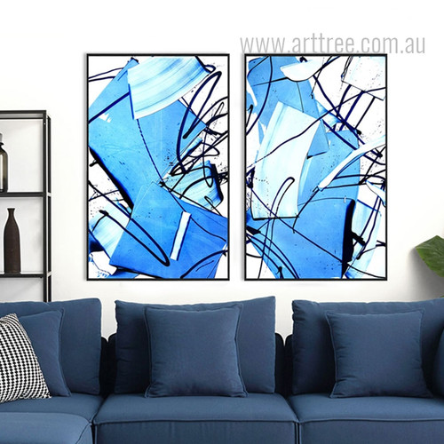 Modern Abstract Blue Painted Waves and Lines Canvas Art