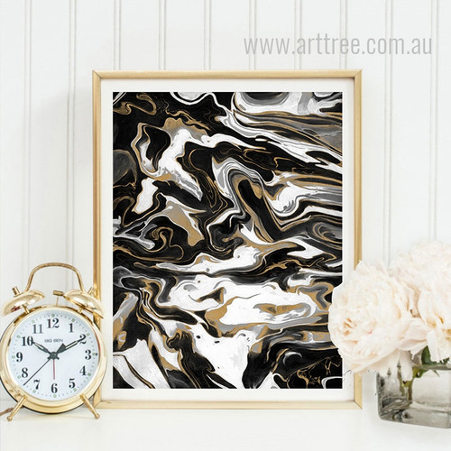 Black White & Golden Abstract Marble Design Canvas Wall Art