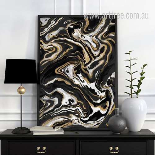 Black White & Golden Abstract Marble Design Canvas Artwork