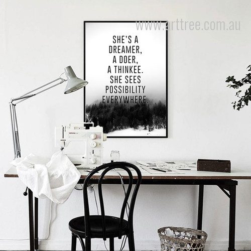 She's A Dreamer A Doer A Thinkee Quote Canvas Print