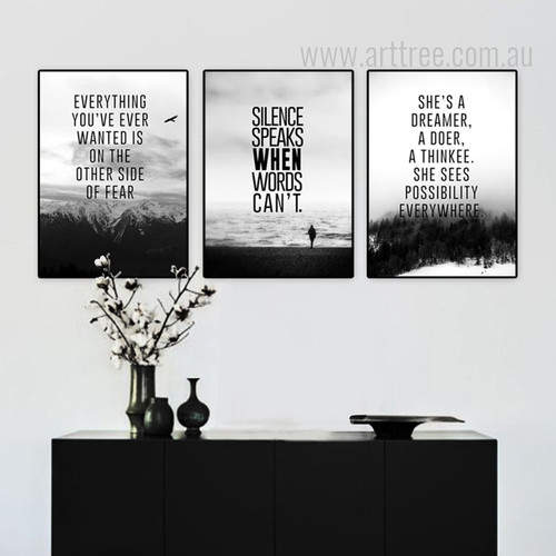 Everything You Wanted Silence Speaks She's Dreamer Quotes Art Set