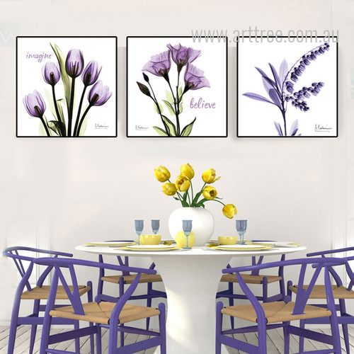 Imagine Believe Words Design Purple Floral Art Set