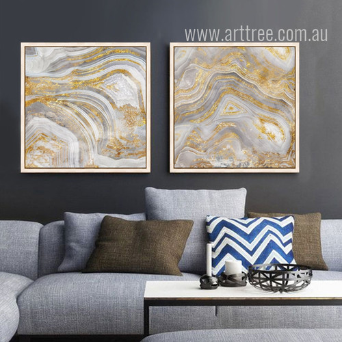 Golden Abstract Watercolor Prints