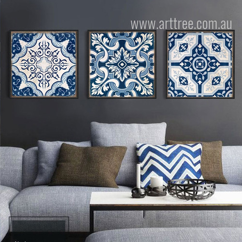 Blue and White Porcelain Moroccan Pattern Canvas Prints