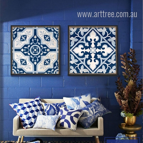 Blue and White Porcelain Moroccan Pattern Split Canvas Art