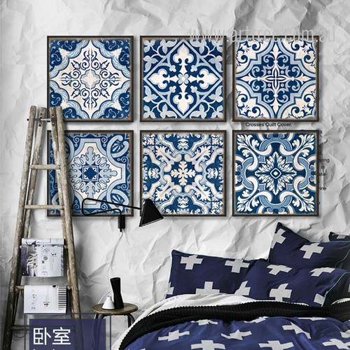 Blue and White Porcelain Moroccan Pattern Oversized Canvas Prints