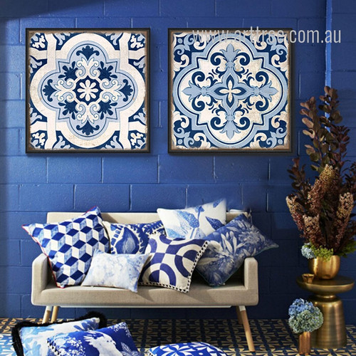 Chinese Porcelain Moroccan Pattern Canvas Wall Art