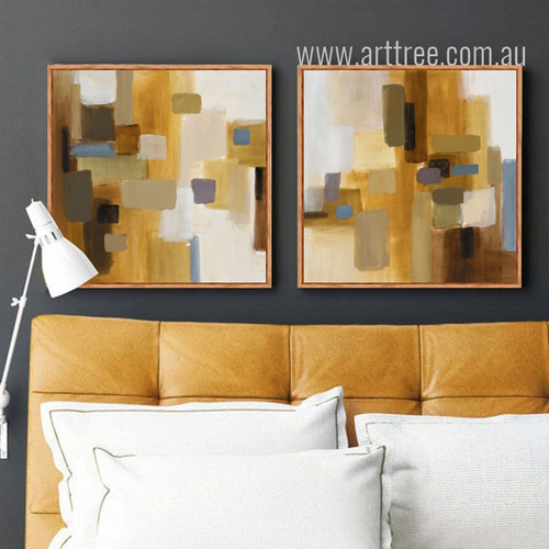 Yellow Mosaic Color Modern Abstract Canvas Painting Print Set