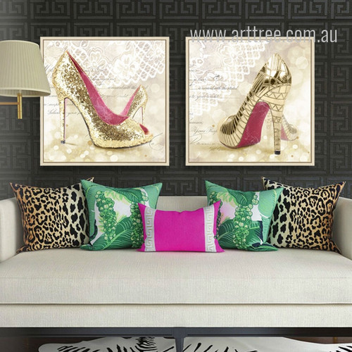 Modern Art Fashionable Lady Golden High Heels Design Canvas Prints