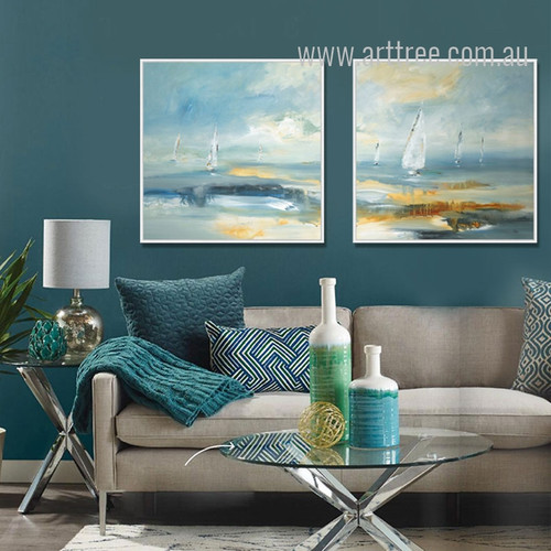 Blue Ocean Sailing Painting Print Set