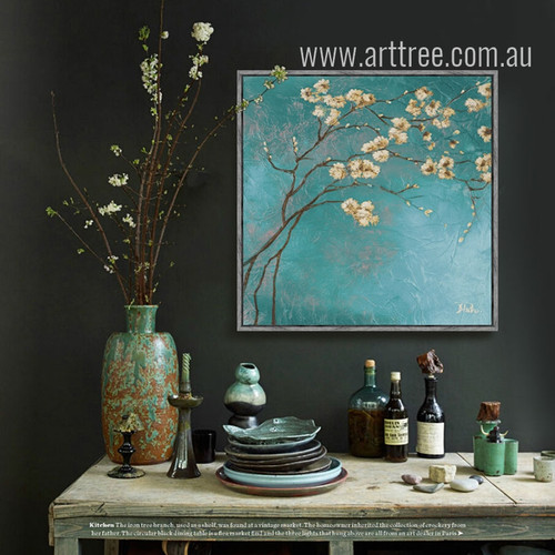 Blue Almond Blossom Floral Canvas Art