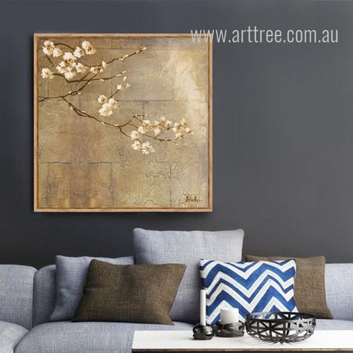 Golden Almond Blossom Floral Canvas Art