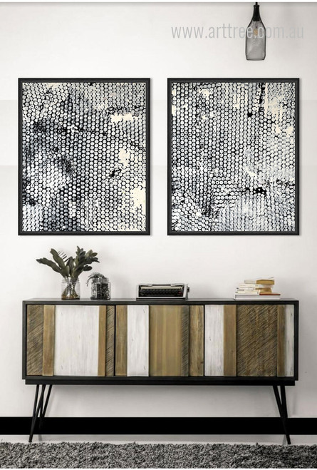 Black and White Diamond Style 2 Piece Wall Art Set