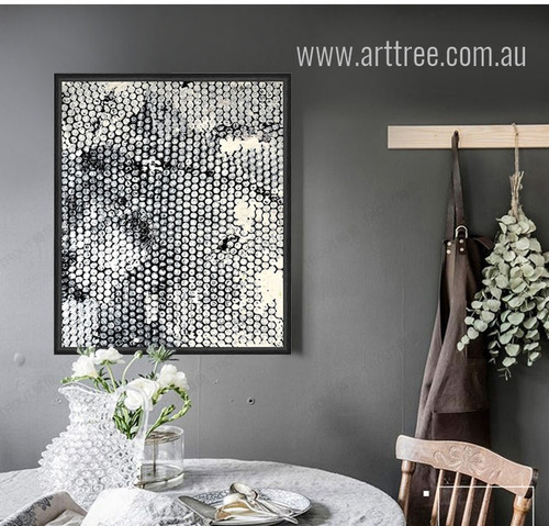 Modern Abstract Diamond Style Black and White Art